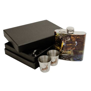 Picture of Deer Flask With Shot Glasses
