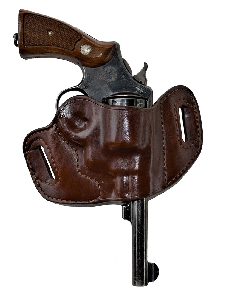 Smith and Wesson revolver in a Lobo Gun Leather belt slide holster