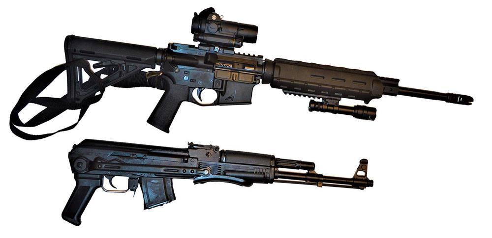 AR-15 rifle top, AK-47 rifle bottom