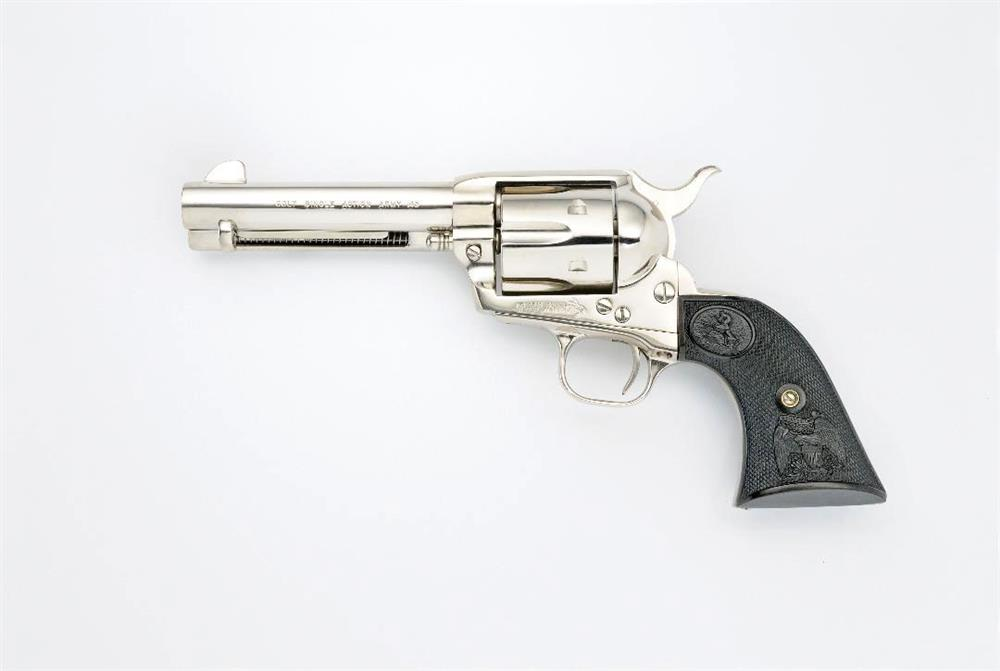 nickel-plated Colt Single Action Army revolver with 4 ¾-inch barrel