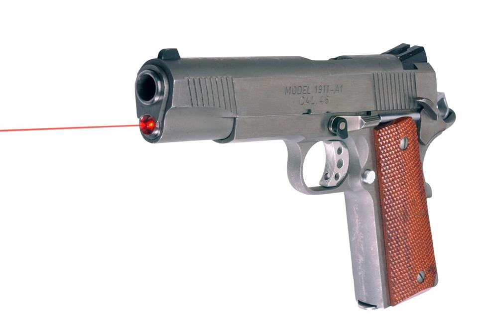 1911 handgun with LaserMax red laser