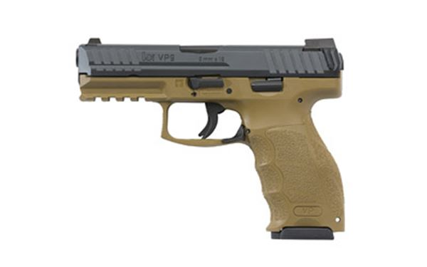 "HK VP9 9MM 4.09"" 15RD FDE NS 3MAGS"