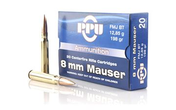 Picture of PPU 8MM MAUSER FMJ 198GR 20/500
