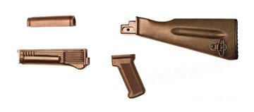 Russian Plum Buttstock and Handguard Set with US Plum Pistol Grip (4 Piece Set)