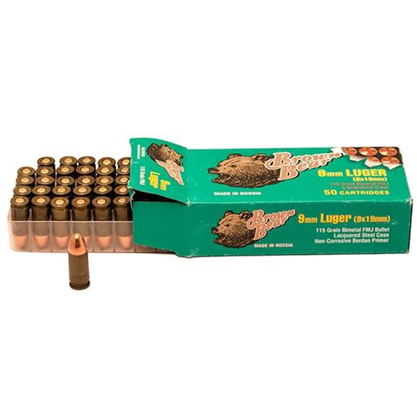 Ammo, Brown Bear, AA919RFMJ, 9MM LUGER, 115 gr., FMJ, 500rds (50 rd per box, 10 boxes per case)