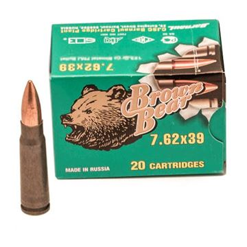 Ammo, Brown Bear, AB7622FMJ, 7.62x39, 123 gr., FMJ, 20rd per box