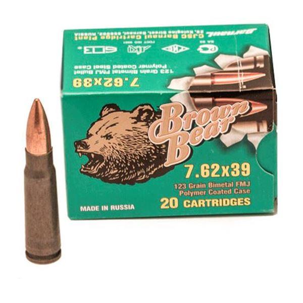 Ammo, Brown Bear, AP762FMJ, 7.62X39, 123 gr., FMJ POLYMER, 20rds