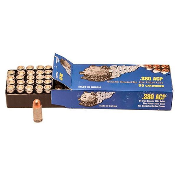BOX of 50rds of .380 ACP Full Metal Jacket ammunition. By Silver Bear, made in Russia.
