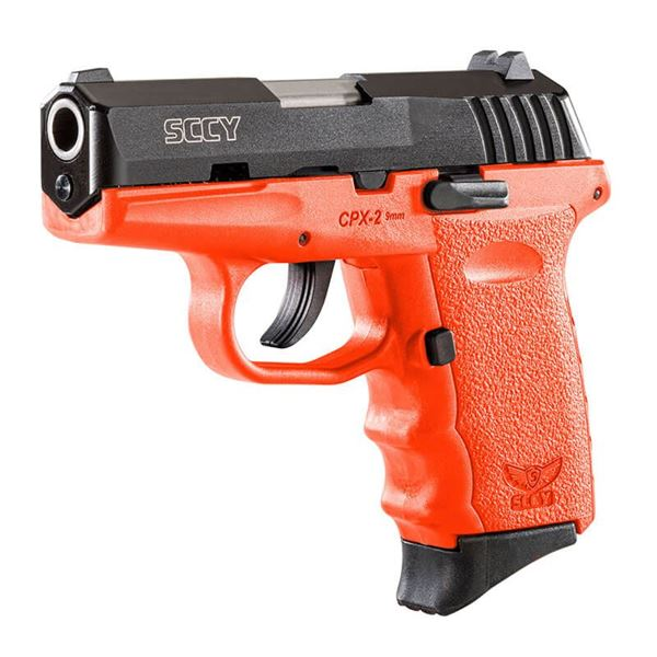 SCCY CPX-2 9 mm Semi Auto Pistol, Safety, Black Nitride, Orange Grip