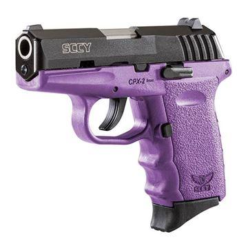 SCCY CPX-2 9 mm Semi Auto Pistol Safety, Black Nitride, Purple Grip