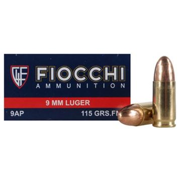 Fiocchi 9 mm 115 Grain Full Metal Jacket Brass Ammo (Box of 50 Round)