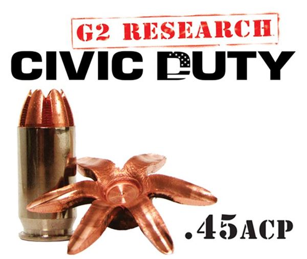 G2 Research Civic Duty 45 ACP Ammo - Box of 20 round