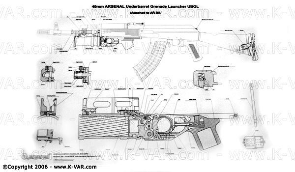 Bulgarian B&W Poster with details for GP-25 Grenade