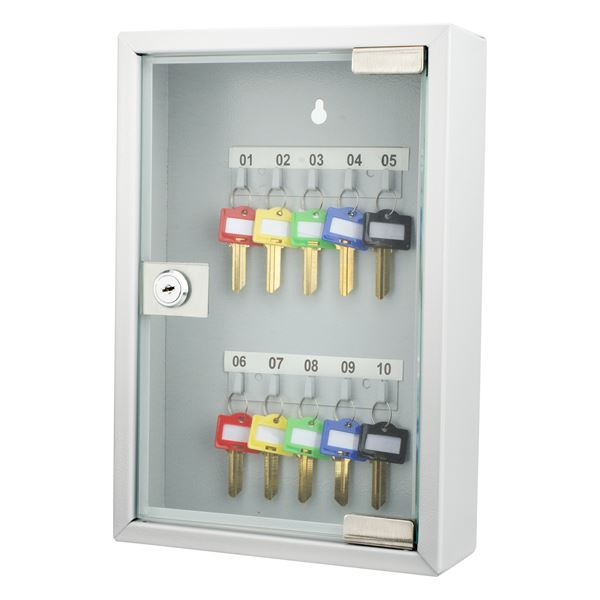 10 Keys Lock Box Gray W/ Glass Door