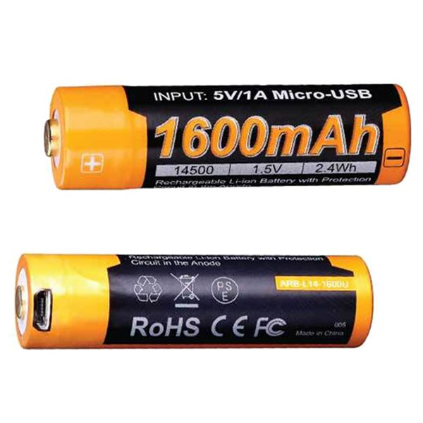 14500 (1.5V) 1600U mAh USB Recharge. Bat.