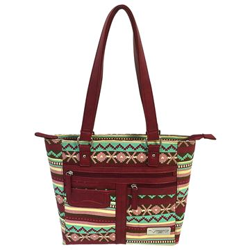 Picture of Concealed Carry Printed Tote- Burgundy