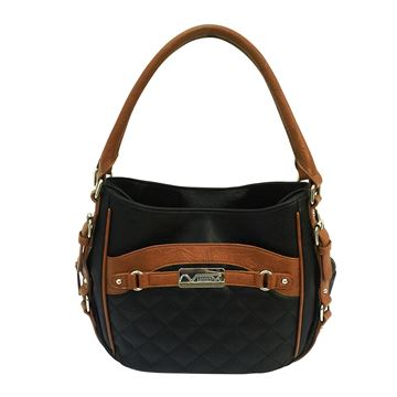 Picture of Concealed Carry Quilted Hobo Bag-Blk,Brn