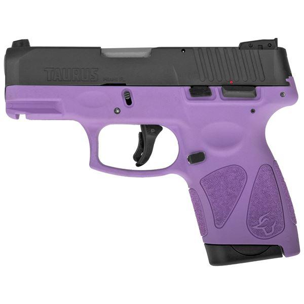 """Taurus G2S 9MM 7RD 3.25"""" Barrel Semi-Automatic Sub Compact Pistol Black/Light Purple"""