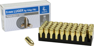 AS9A Scorpio 9mm 124 Grain FMJ Brass Case, Boxer Primed, 50 round Box