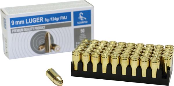 AS9A Scorpio 9mm 124 Grain FMJ Brass Case, Boxer Primed, 50 round Box