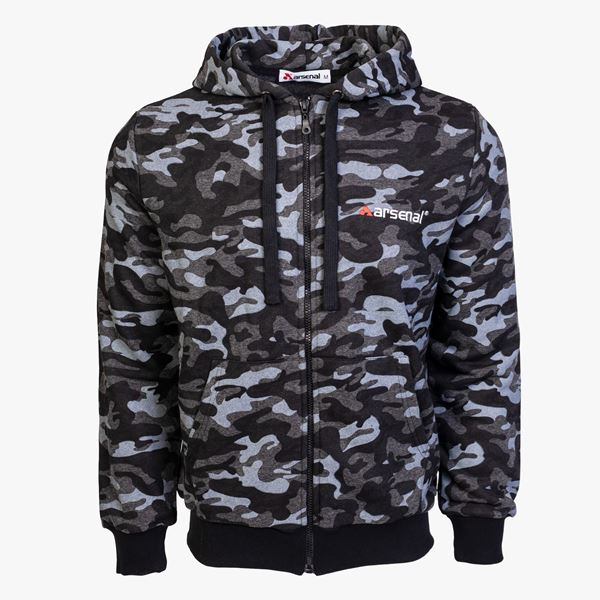 Picture of Arsenal Black Camo Cotton-Poly Relaxed Fit  Zip-Up Hoodie