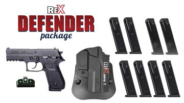 Picture of Arex Rex Defender Package 9mm Full Size Pistol Night Sights 8 Mags and Holster
