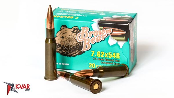 Picture of Bear Ammo 7.62x54R 203 Grain Bimetal Soft Point Boat Tail Bullet 20 Round Box