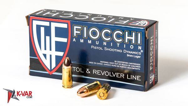 Picture of Fiocchi Ammunition 9mm 124 Grain Reloadable Copper Full Metal Jacket 50 Round Box