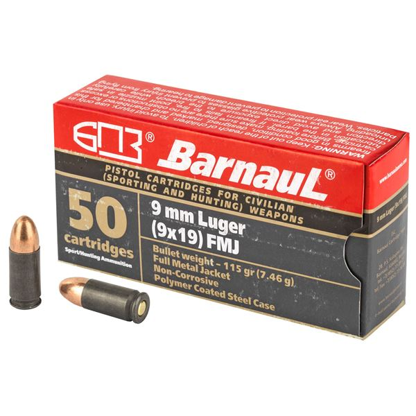 Picture of Barnaul 9MM 115Gr FMJ Steel Polycoated Case 500 Rounds Ammunition